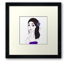 Beautiful Original illustration of Slavic Girl with Black Hair Framed Print