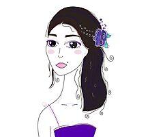 Beautiful Original illustration of Slavic Girl with Black Hair Photographic Print