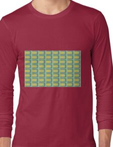 Beautiful Cushions/Extreme Squares Yellow Aqua Long Sleeve T-Shirt