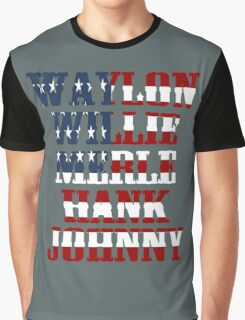 Waylon Jennings Willie Nelson Merle Haggard Hank Williams Johnny Cash  Graphic T-Shirt