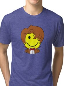Happy Dr. Who Face Tri-blend T-Shirt