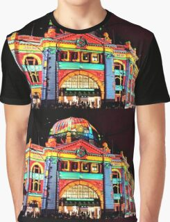 Flinders Street Station White Night Graphic T-Shirt