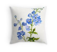 Delphinium blue watercolor art Throw Pillow