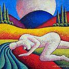 Nude in landscape, impasto,acrylic by Alan Kenny