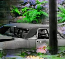 Surreal Montage Print - Tropical Pond Wreck Sticker