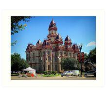 Lockhart Texas, County Courthouse on Farmers Market Day Art Print