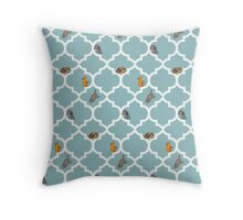 Cats On A Lattice - Blue Throw Pillow