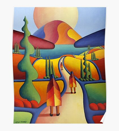 pilgrimage to the sacred mountain with 3 figures Poster