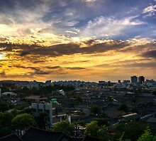 Jeonju Hanok Village Sunset by aaronchoi