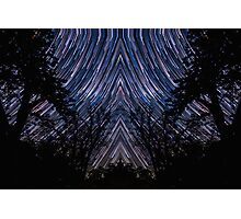 Native Star Trails Timelapse Night Sky Pattern over Forest Photographic Print