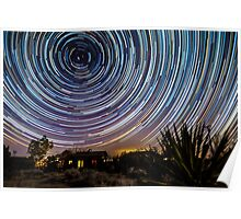 Amazing Galaxy Star Trails Spin Over Desert Cabin Poster
