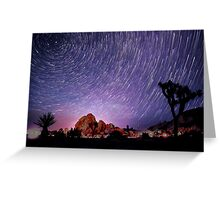 Amazing Galaxy Star Trails Spin Over Joshua Tree Greeting Card