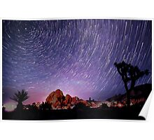 Amazing Galaxy Star Trails Spin Over Joshua Tree Poster