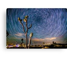 Polaris Star Trails Spin Around Yucca in Joshua Tree Canvas Print