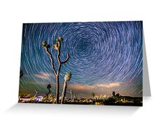 Polaris Star Trails Spin Around Yucca in Joshua Tree Greeting Card