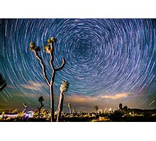 Polaris Star Trails Spin Around Yucca in Joshua Tree Photographic Print