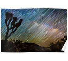 Rainbow of Star Trails with Joshua Tree in Foreground Poster