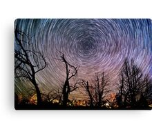 Beautiful Polaris Star Trails Over Burnt Forest Canvas Print
