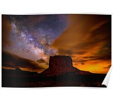 Amazing Milky Way Over Monument Valley Storm  Poster
