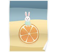 Cute bunny on orange Poster