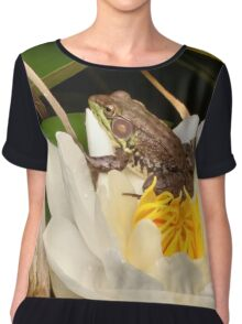 Frog on a Lily Chiffon Top
