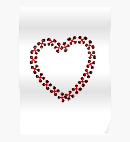 Red Heart embroidered Poster