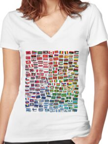 World Flags Women's Fitted V-Neck T-Shirt