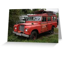 Red Land Rover Series III 109 Greeting Card