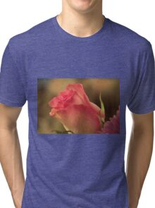 Soft Pink and White Rose, As Is Tri-blend T-Shirt