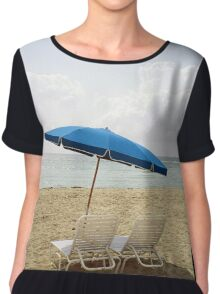 Serene Beach View with chairs and umbrella Chiffon Top