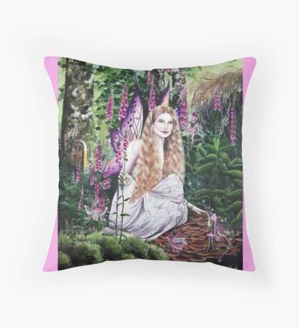 Hannah Titania and the Foxglove fairies tote bag Throw Pillow