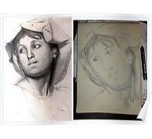 Female Head/Degas Copy -(310516)- Graphite stick/A4 sketchbook Poster