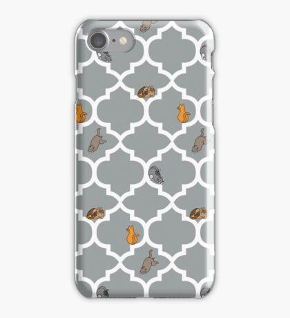 Cats On A Lattice - Grey iPhone Case/Skin