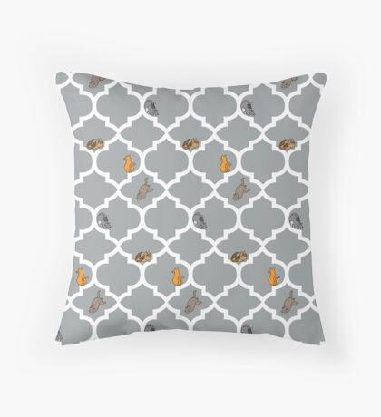Cats On A Lattice - Grey Throw Pillow