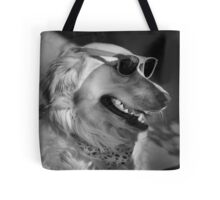 Golden retriever wearing sunglasses Tote Bag