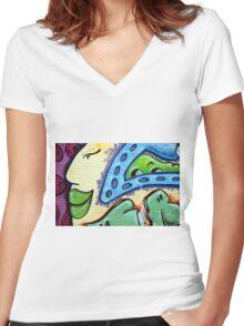 Graffiti Beauty Women's Fitted V-Neck T-Shirt