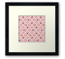 Cats On A Lattice - Pink Framed Print