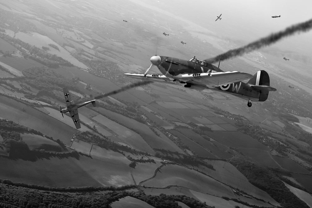 Battle of Britain dogfight B&W by Gary Eason + Flight Artworks