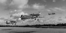 Another day: Hurricane scramble panorama B&W by Gary Eason + Flight Artworks