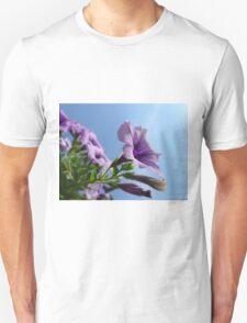 Purple Petunia and Blue Sky Unisex T-Shirt