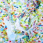 JIMI HENDRIX PLAYING the GUITAR - watercolor portrait.3 by lautir