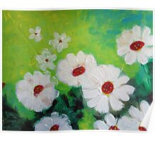 Abstract Daisies Acrylic Painting Poster