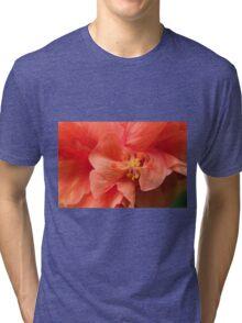 Orange Hibiscus Macro Tri-blend T-Shirt