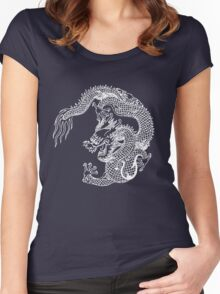 Asian Art White Dragon Women's Fitted Scoop T-Shirt