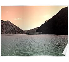 Danube river ship at evening | waterscape photography Poster