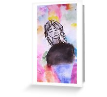 Girl with a Rainbow Background Greeting Card