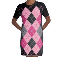 Pink and Black Dashed Argyle Graphic T-Shirt Dress