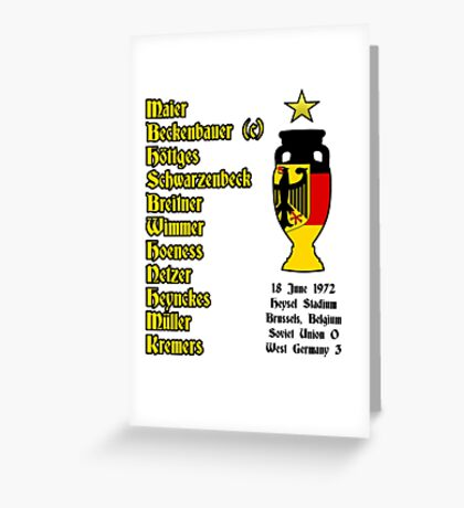 West Germany Euro 1972 Winners Greeting Card