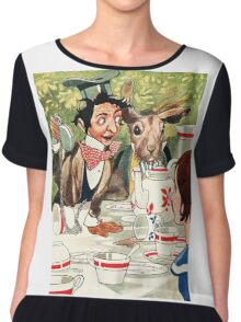 Vintage illustration Alice in Wonderland  Chiffon Top