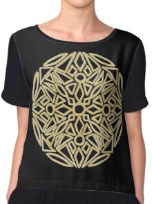 Golden mandala on black - OneMandalaADay Chiffon Top